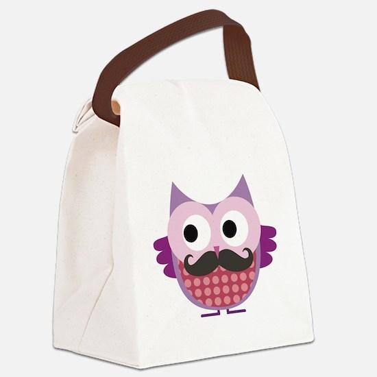 Mustachioed owl, Purple Canvas Lunch Bag