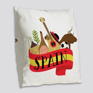 Spain 1 Burlap Throw Pillow
