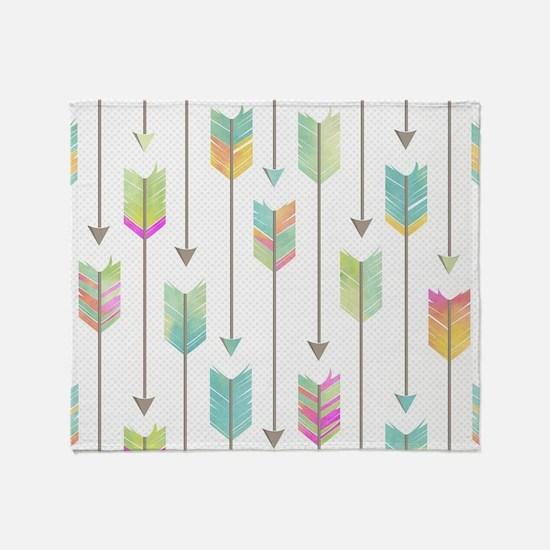Watercolor Arrows Pattern Throw Blanket
