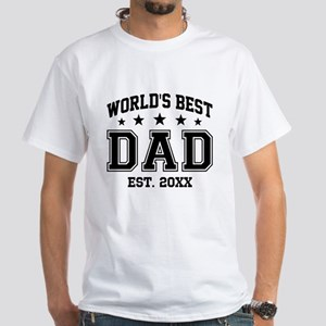 Personalized World's Best Dad White T-Shirt