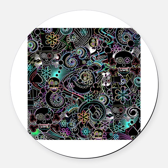 Unique Skulls Round Car Magnet