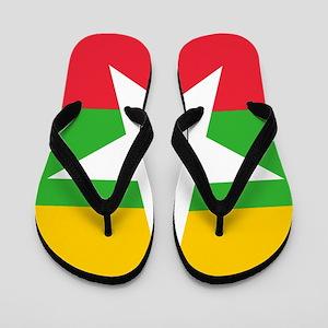 17e783364455 Burmese Flag Flip Flops - CafePress