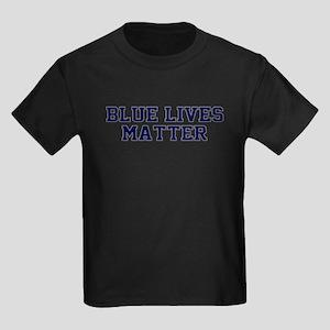 Blue Lives Matter Shadow Kids Dark T-Shirt