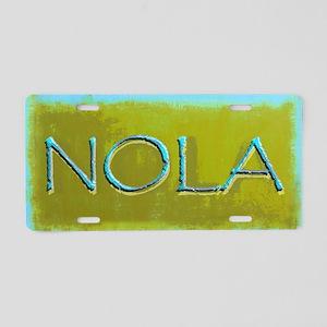 NOLA OLIVE TURQ Aluminum License Plate