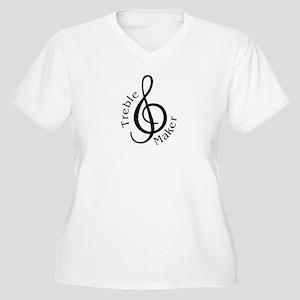 Treble Maker Women's Plus Size V-Neck T-Shirt
