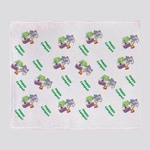 Cute Happy Camper Mouse Pattern Throw Blanket