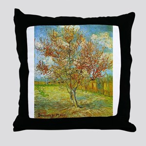 Peach Tree in Blossom Throw Pillow