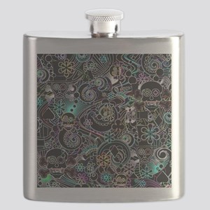 Paisley Flower Sugar Skulls, Day of the Dead Flask