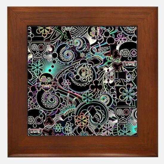 Paisley Flower Sugar Skulls, Day of th Framed Tile