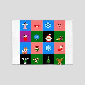african santa claus colorblock 5'x7'Area Rug