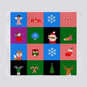 african santa claus colorblock Throw Blanket