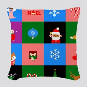 african santa claus colorblock Woven Throw Pillow