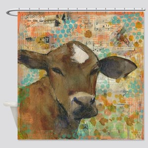 Country Cow Shower Curtain ~ Baleful Eyes
