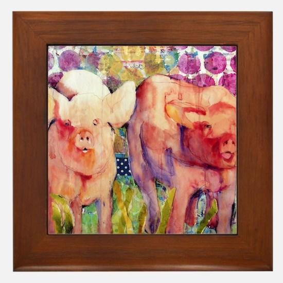 Little Piggies Animal Art Framed Tile
