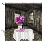 Rustic Farm With Sweet Peas Shower Curtain
