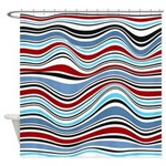Abstract Waves Americana Shower Curtain