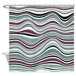Abstract Waves Plum And Green Shower Curtain