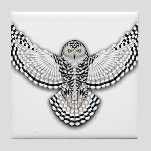 Beadwork Snowy Owl Tile Coaster