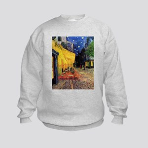 Van Gogh, Cafe Terrace at Night Kids Sweatshirt