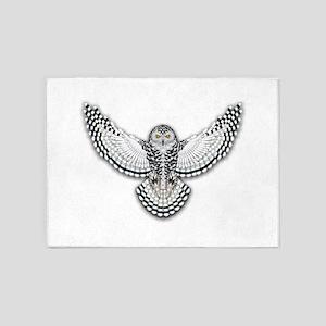 Beadwork Snowy Owl 5'x7'Area Rug