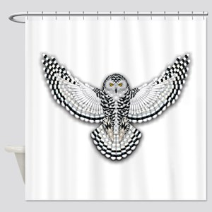 Beadwork Snowy Owl Shower Curtain