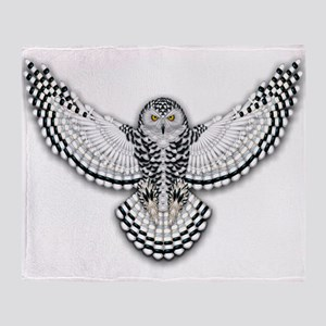 Beadwork Snowy Owl Throw Blanket