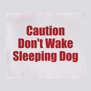 Caution Dont Wake Sleeping Dog Throw Blanket