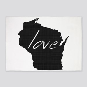 Love Wisconsin 5'x7'Area Rug