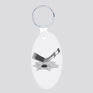 ice hockey Aluminum Oval Keychain