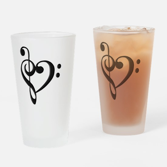 Music Clef Heart Drinking Glass