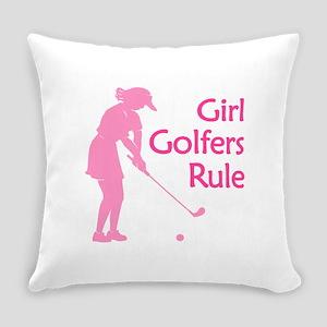 cute girl golfer Everyday Pillow
