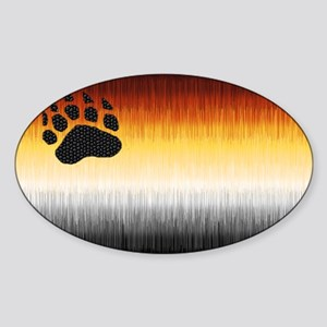 BEAR PRIDE FLAG FURRY LOOK Oval Sticker
