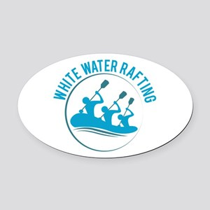 White Water Rafting Oval Car Magnet