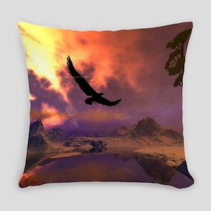 Awesome fantasy landscape with flying eagle Everyd