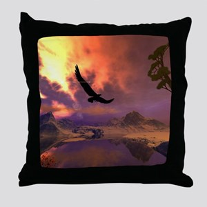 Awesome fantasy landscape with flying eagle Throw