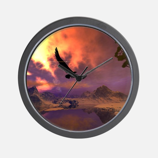 Awesome fantasy landscape with flying eagle Wall C