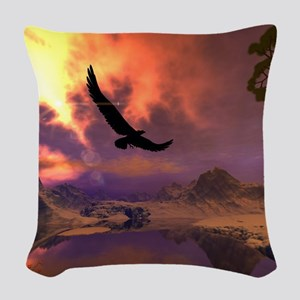 Awesome fantasy landscape with flying eagle Woven