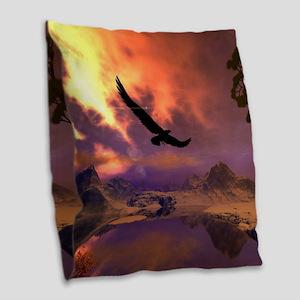 Awesome fantasy landscape with flying eagle Burlap