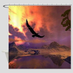 Awesome fantasy landscape with flying eagle Shower
