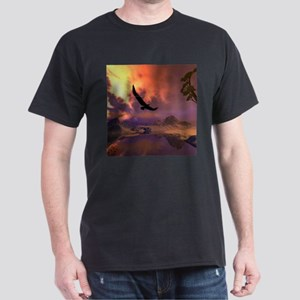 Awesome fantasy landscape with flying eagle T-Shir