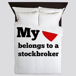 My Heart Belongs To A Stockbroker Queen Duvet