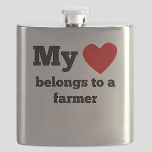My Heart Belongs To A Farmer Flask