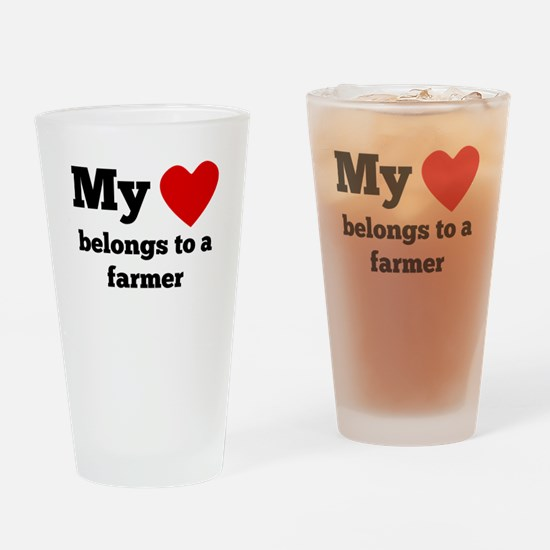My Heart Belongs To A Farmer Drinking Glass