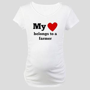 My Heart Belongs To A Farmer Maternity T-Shirt
