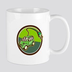 Plug-in Hybrid Electric Vehicle Circle Retro Mugs