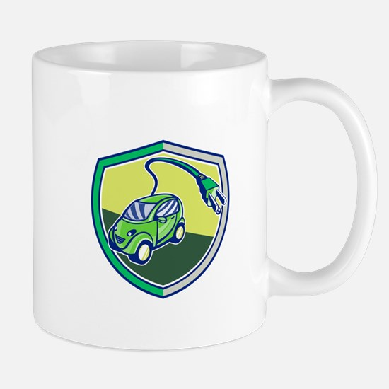 Plug-in Hybrid Electric Vehicle Retro Shield Mugs