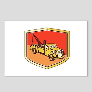 Vintage Tow Truck Wrecker Shield Retro Postcards (