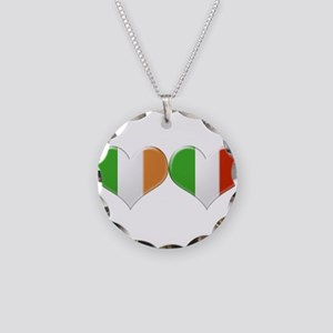 Irish and Italian Heart Flag Necklace Circle Charm