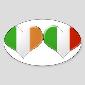 Irish and Italian Heart Flags Sticker