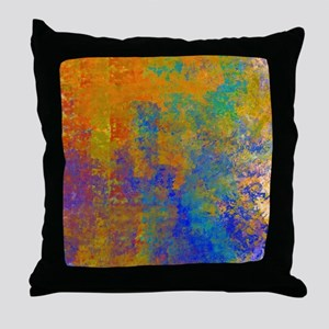 Abstract in Turquoise, Blue, Gold and Throw Pillow